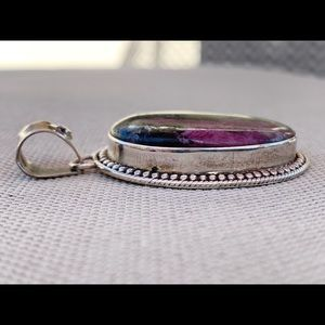 Vintage Jewelry - Sterling ruby zoisite pendant - vintage